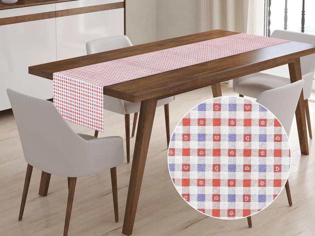 Škodák Behúň na stôl LONETA vzor  LO-366 Červeno-modré káro - 50 x 180 cm