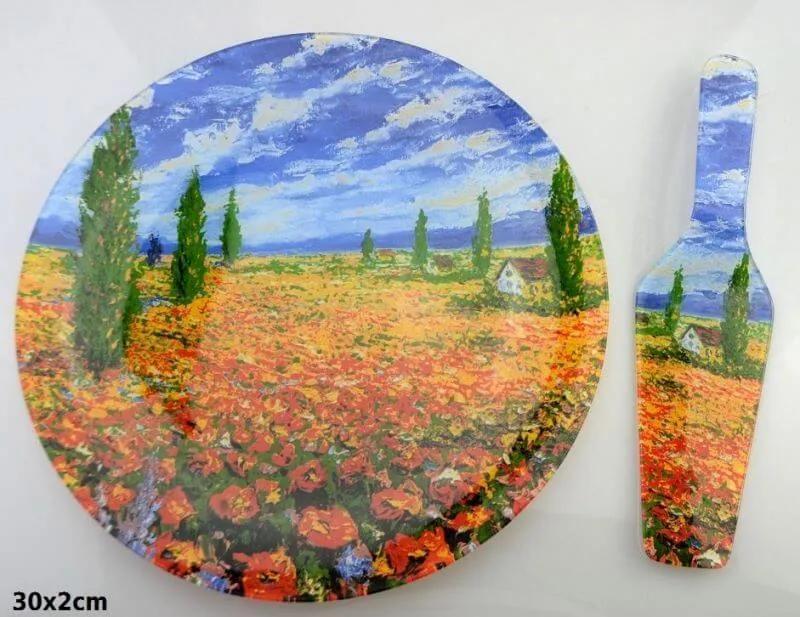 Sklenená tácka okrúhla s priemerom 30 cm s lopatkou Claude Monet Pole makov, 287117