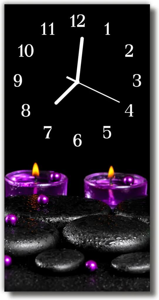 Nástěnné hodiny vertikální Kameny s barevnými lázeňskými svíčkami