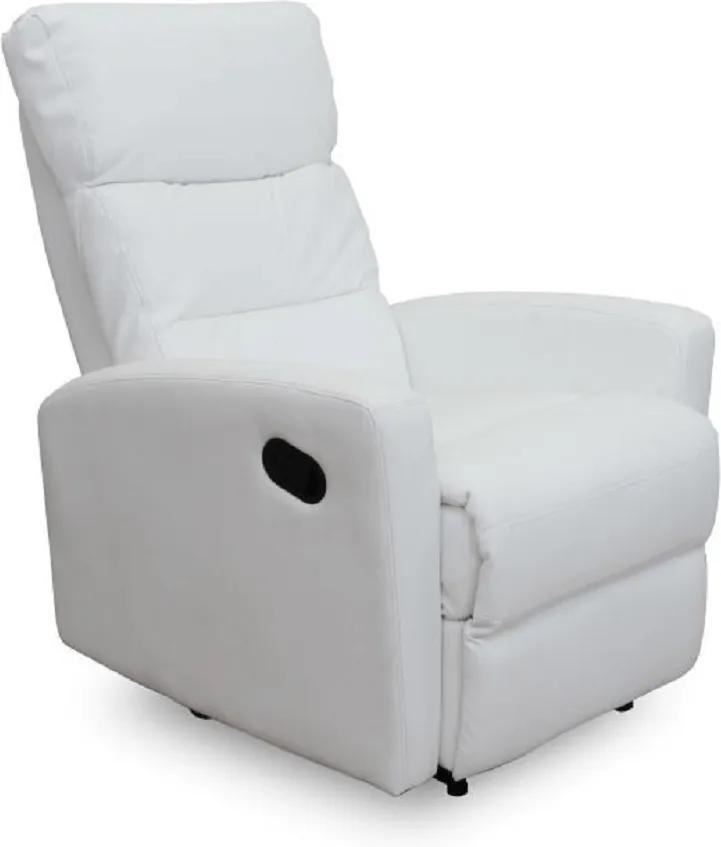Relaxačné kreslo, ekokoža biela, SILAS