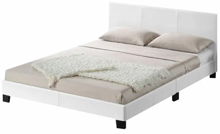 TEMPO KONDELA Daneta 180 čalúnená manželská posteľ s roštom biela / čierna