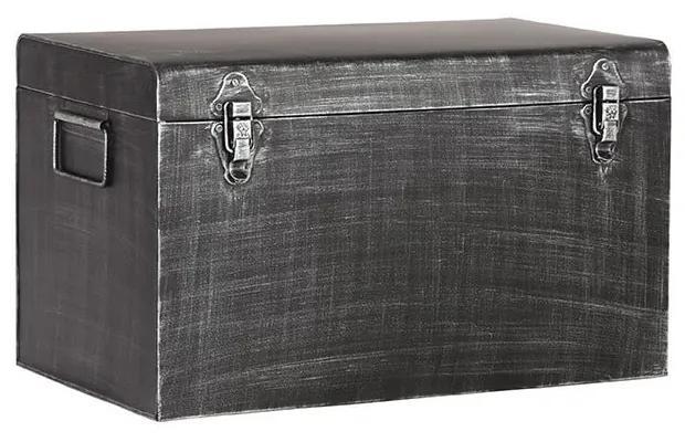 Čierny kovový úložný box LABEL51, dĺžka 50 cm