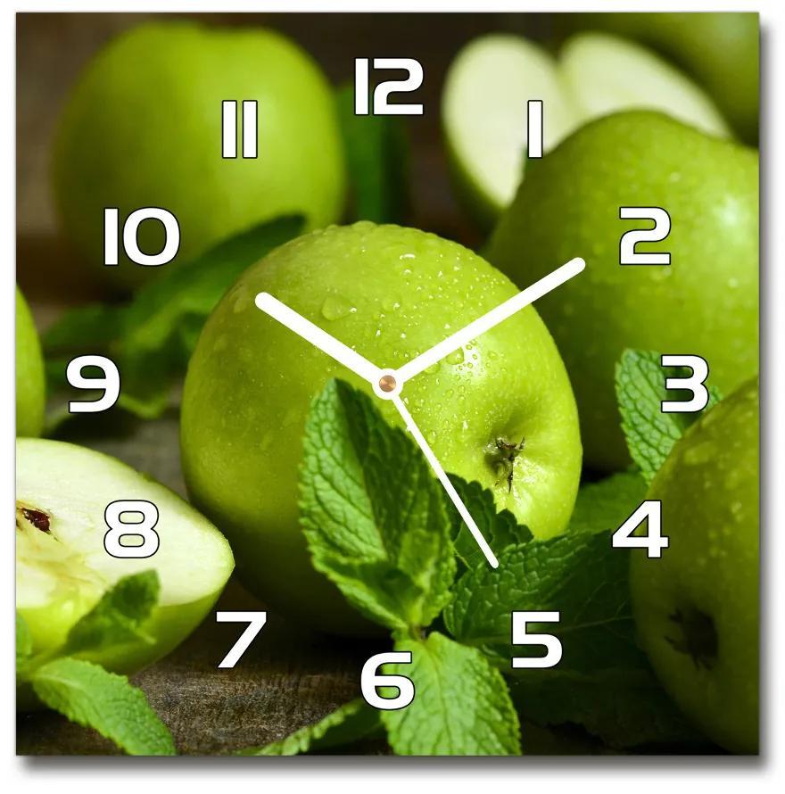 Sklenené hodiny štvorec Zelená jablká pl_zsk_30x30_f_110366916