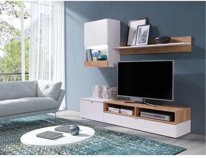 Obývacia stena, biela/dub zlatý, ROSO
