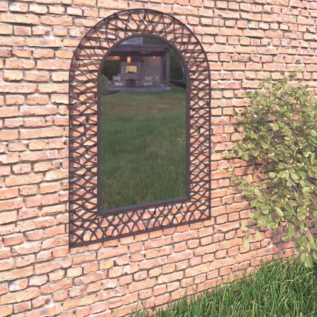 vidaXL Záhradné zrkadlo klenuté 50x80 cm čierne