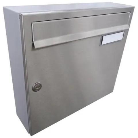 Poštová schránka DLS-A-01A, nerezová dvierka s menovkou, sivé telo schránky