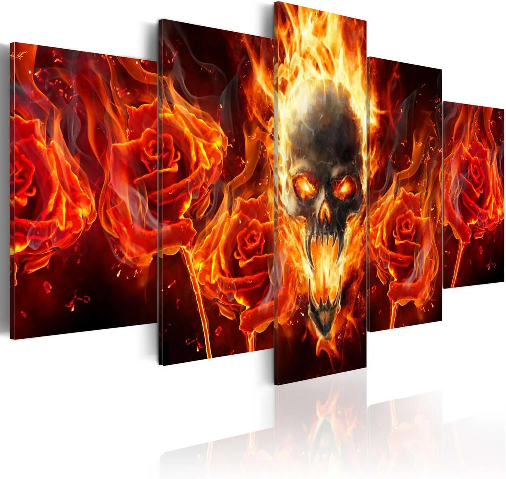 Obraz - Fiery skull 100x50