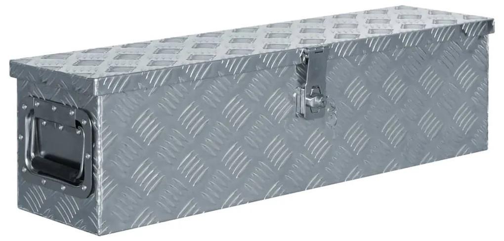 vidaXL Hliníková bednička 80,5x22x22 cm strieborná