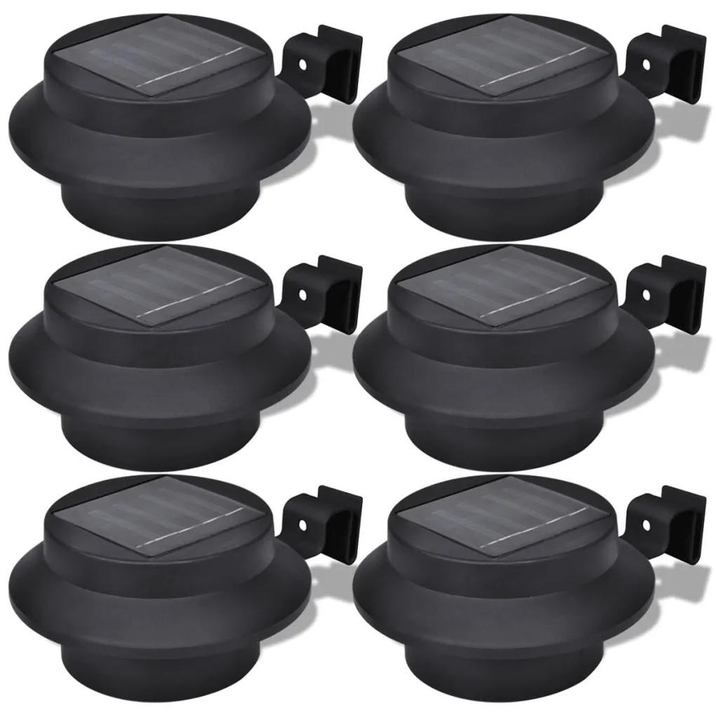 vidaXL Čierne vonkajšie solárne lampy 6 ks set