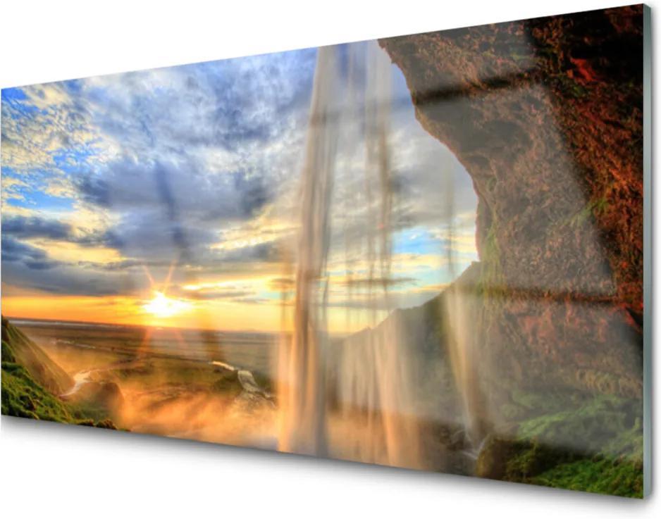 Obraz na skle Vodopád krajina