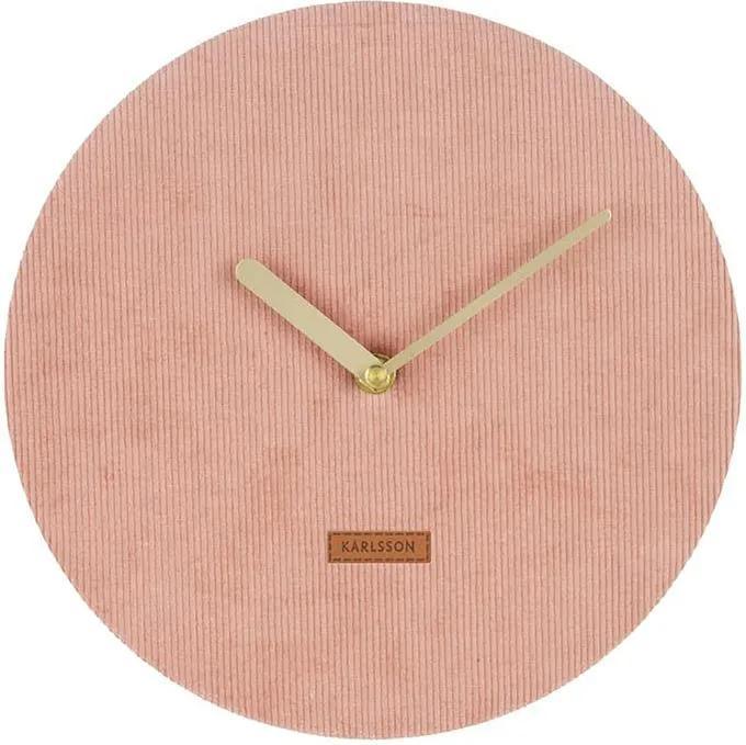 KARLSSON Nástenné ružové menčestrové hodiny Corduroy