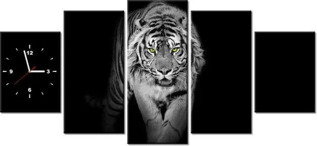 Tlačený obraz s hodinami Nebezpečný tiger v tme 150x70cm ZP2359A_5B