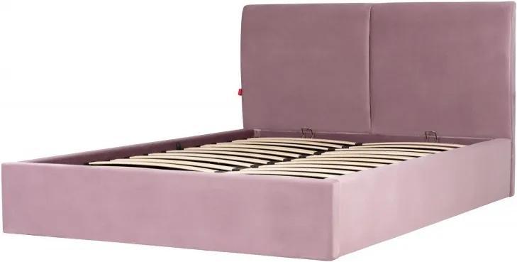 Hector Čalouněná postel Hold 140x200 dvoulůžko - pudrově růžové