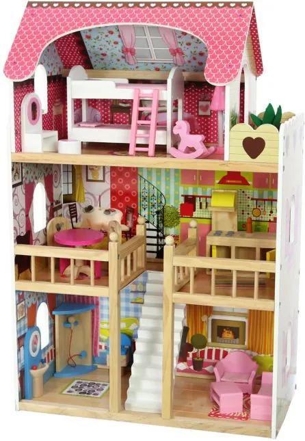 Eco Toys Drevený domček pre bábiky Malinový 4109