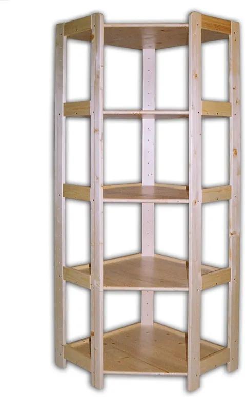 Rohový drevený regál 5 políc, 1660x600x335 mm