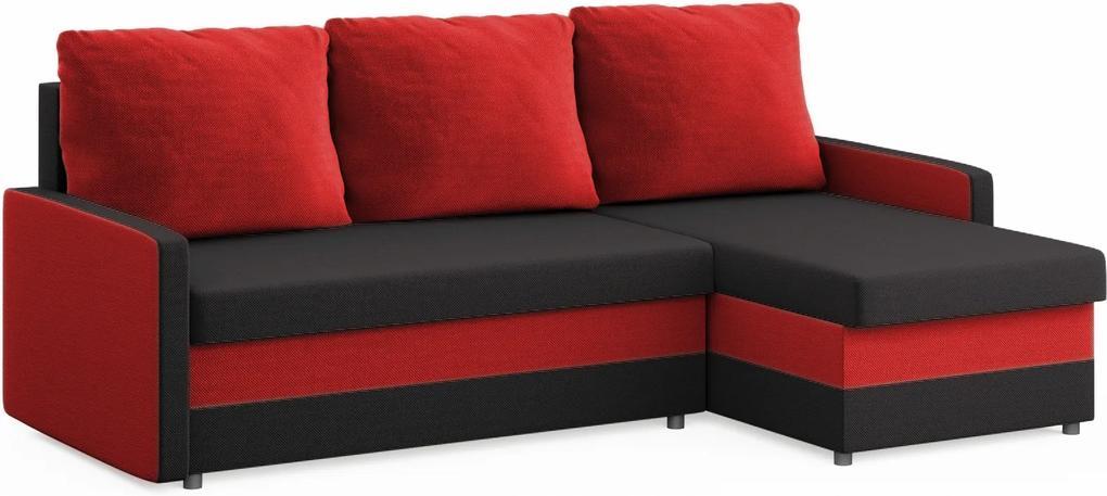 Moderná rozkladacia sedacia súprava Moscone, červená / čierna