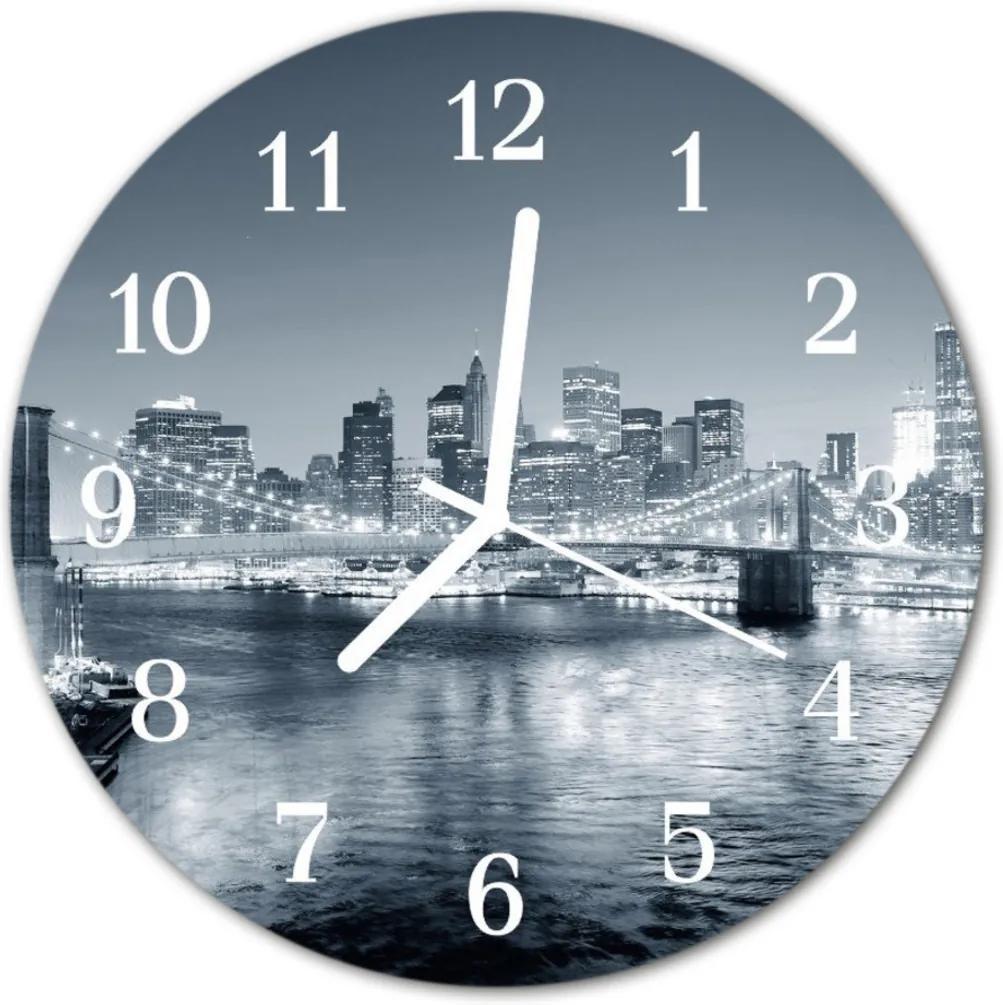Skleněné hodiny kulaté Noční město