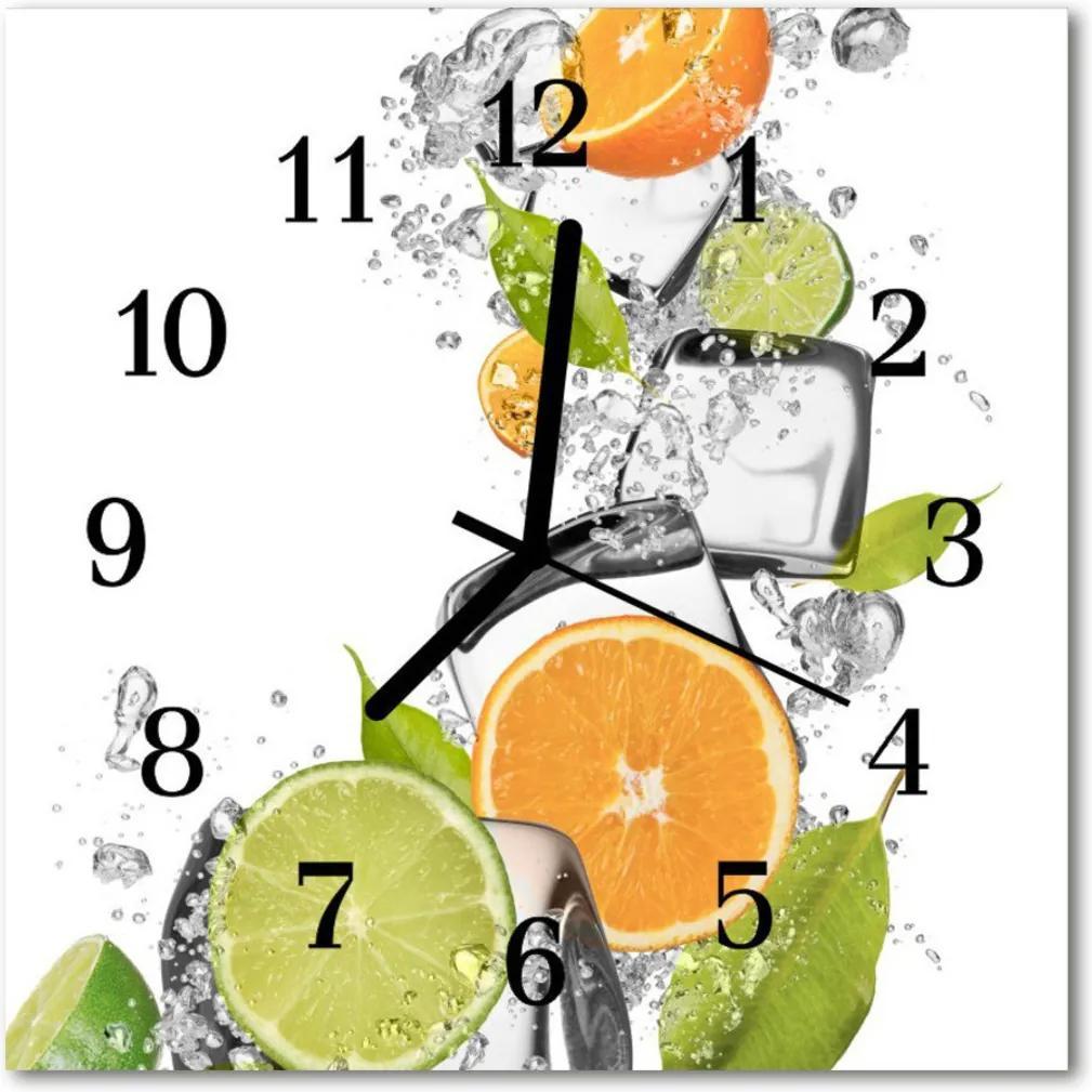 Nástenné skleněné hodiny Citrusové ovoce