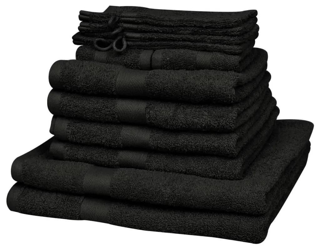 vidaXL Domáce uteráky sada 12 kusov bavlna 500g/m² čierne