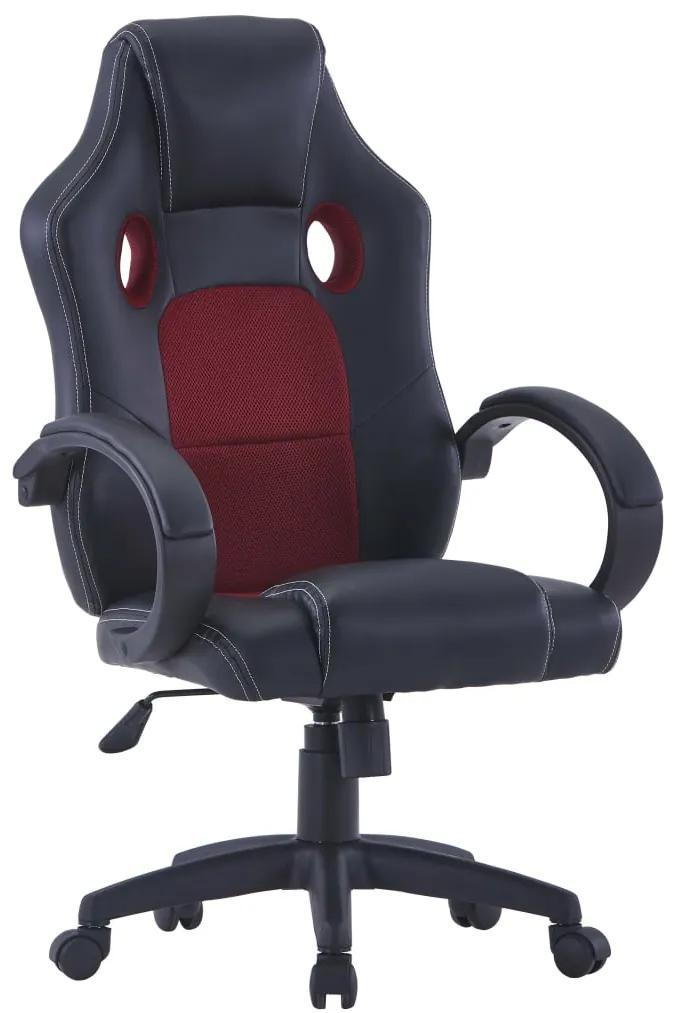vidaXL Herná stolička vínovo-červená umelá koža