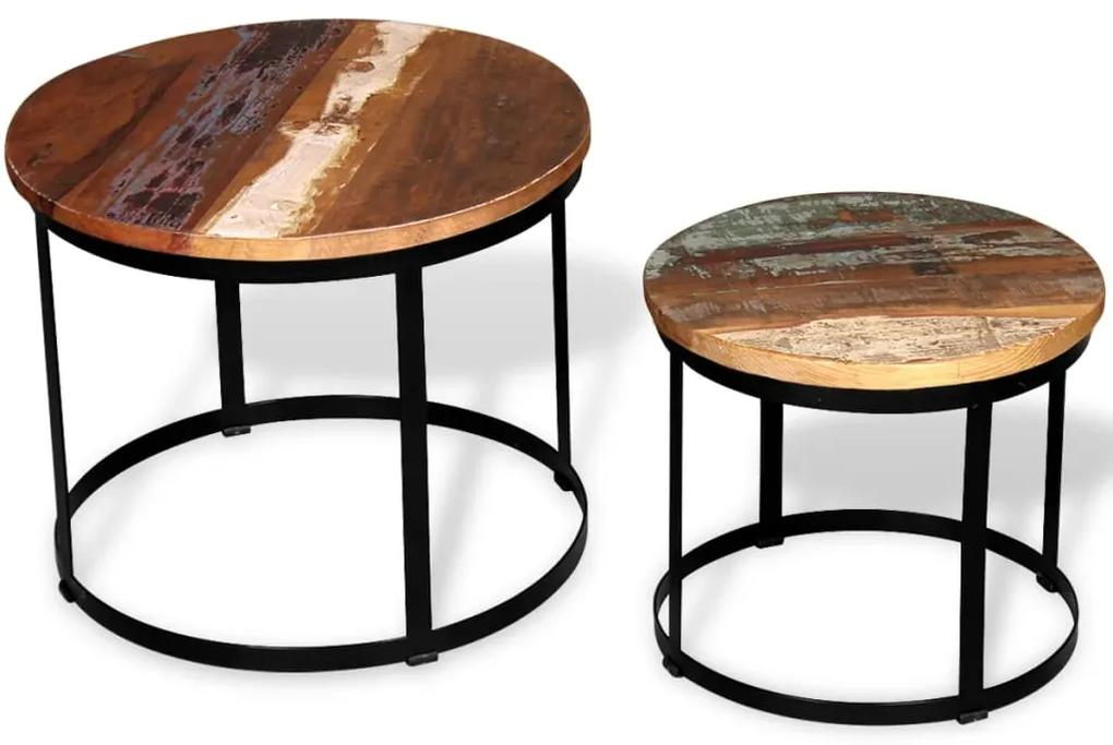 vidaXL Konferenčný stolík z masívneho recyklovaného dreva, 2 ks, okrúhly, 40 cm/50 cm