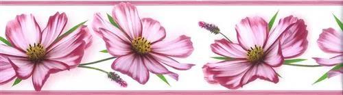 Samolepiace bordúra B 83-12-02, rozmer 8,3 cm x 5 m, kvety ružové, IMPOL TRADE