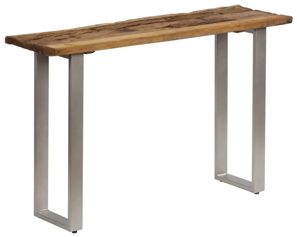 vidaXL Konzolový stolík, recyklované drevo a oceľ 120x35x76 cm