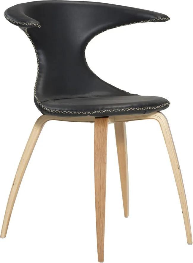 Čierna kožená jedálenská stolička s prírodnou podnožou DAN–FORM Denmark Flair