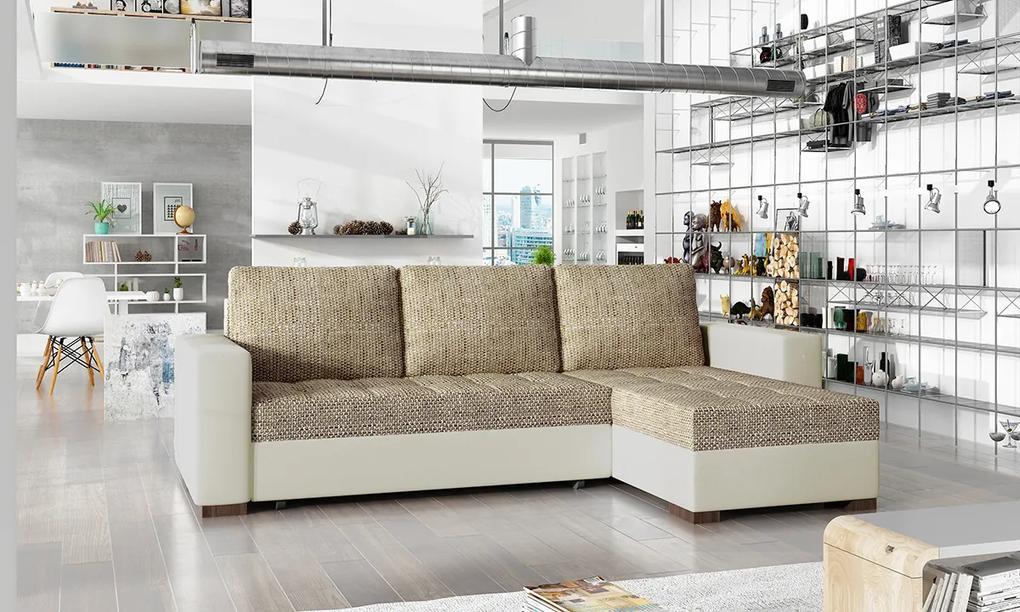 NABBI Novara L/P rohová sedačka s rozkladom a úložným priestorom cappuccino / béžová
