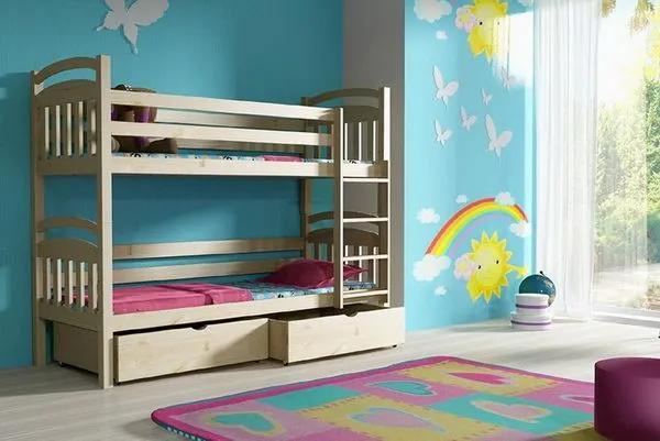 MAXMAX Detská poschodová posteľ z MASÍVU 200x90cm so zásuvkami - PP003 200x90 ÁNO