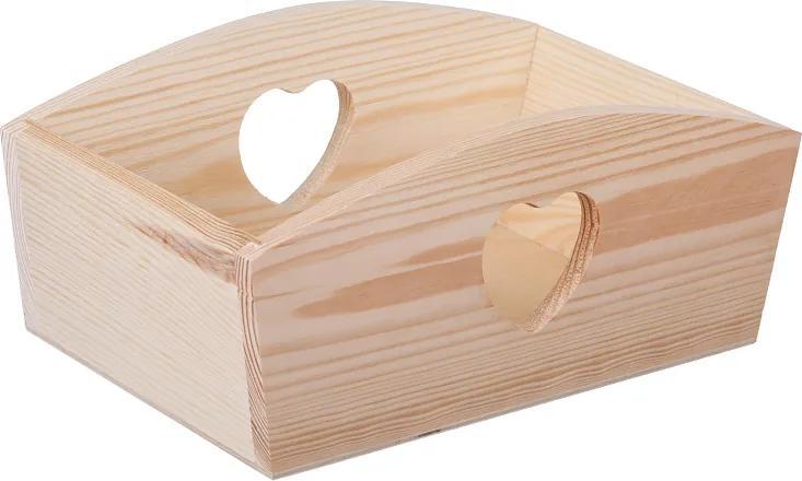 Drevobox Drevený košík so srdiečkom