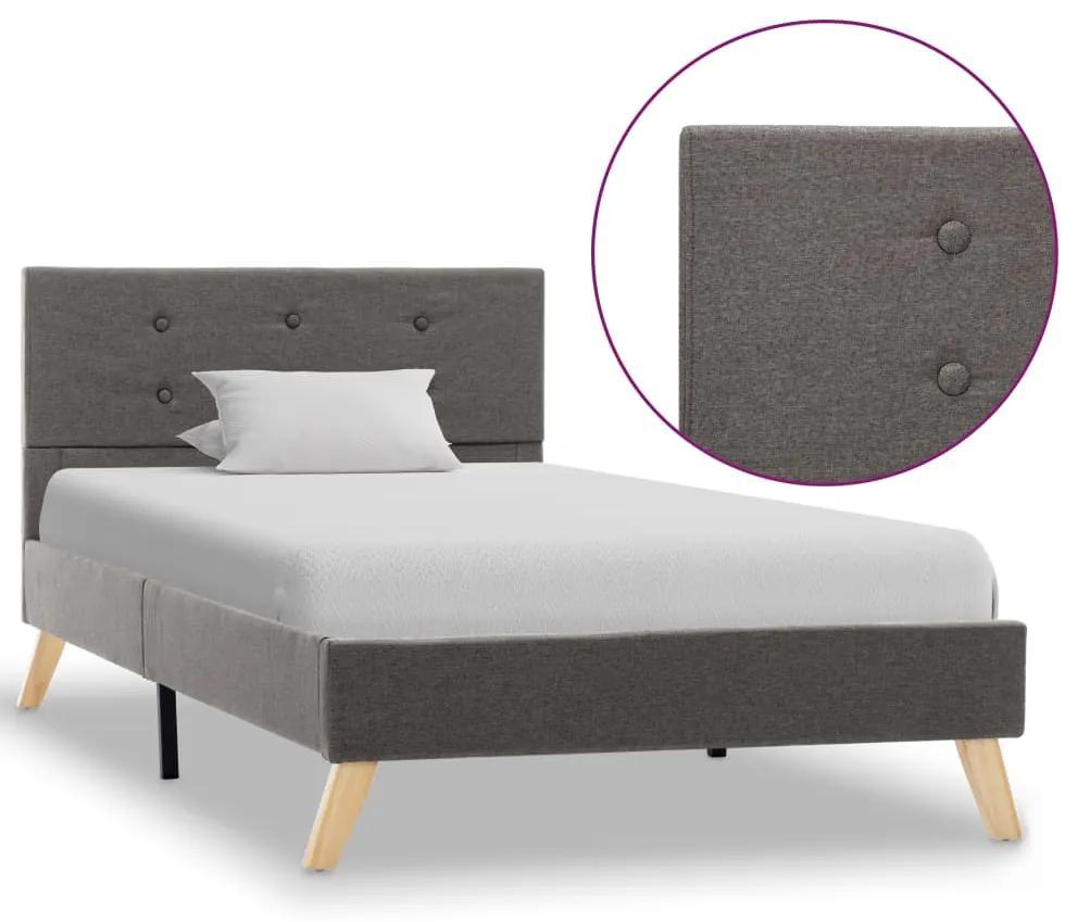 vidaXL Rám postele hnedosivý 90x200 cm látkový