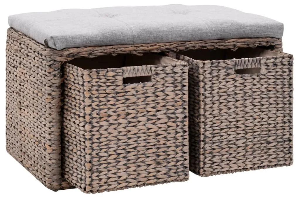 vidaXL Lavica s 2 košíkmi z morskej trávy 71x40x42 cm sivá