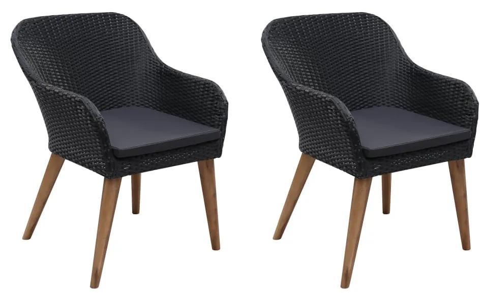 vidaXL Vonkajšie stoličky s podložkami 2 ks, polyratan, čierne