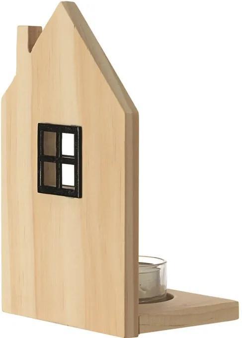Svietnik drevený domček na čajovú sviečku 10x4 cm V:17 cm z dreva v prírodnej farbe, Leonardo, 10 x 4 cm V: 17 cm, fan-78942L