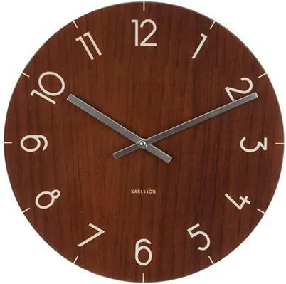 KARLSSON Nástenné hodiny Glass Wood M tmavé drevo