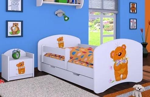 MAXMAX Detská posteľ so zásuvkou 180x90cm MACKO s kytičkou 180x90 pre dievča|pre chlapca|pre všetkých ÁNO