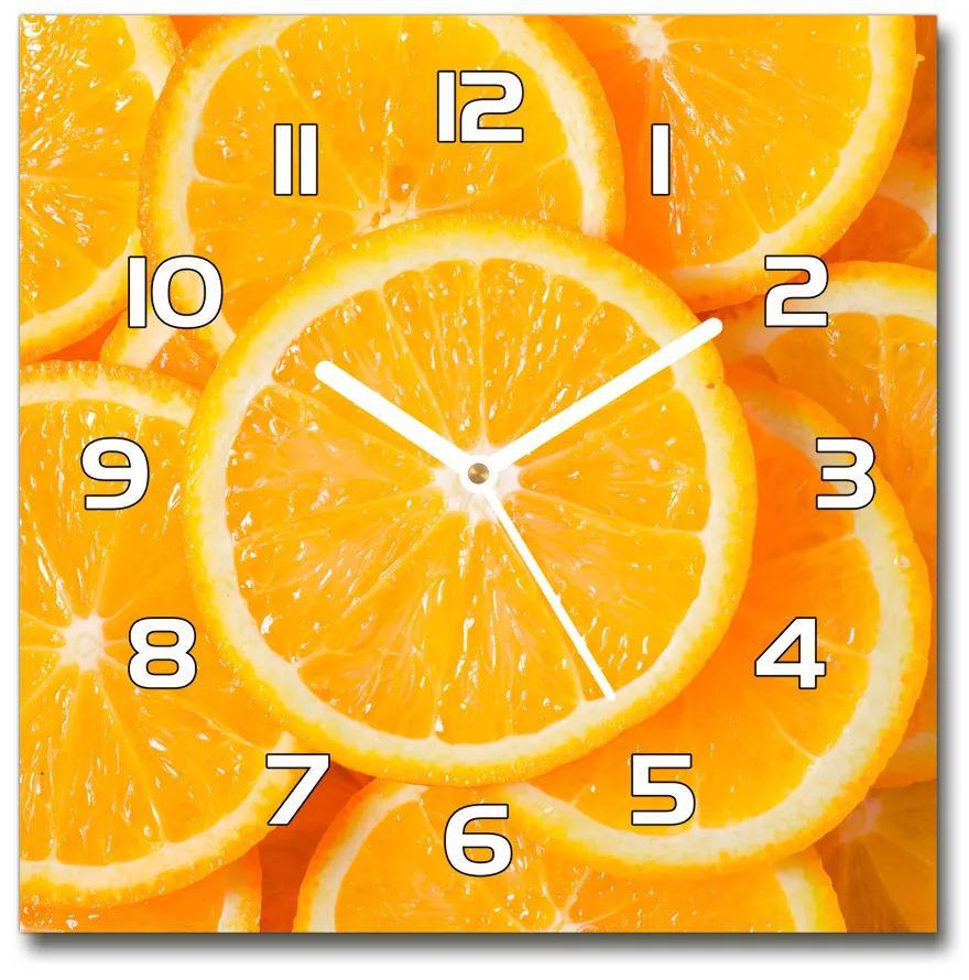 Sklenené hodiny štvorec Plátky pomarančov pl_zsk_30x30_f_82046808