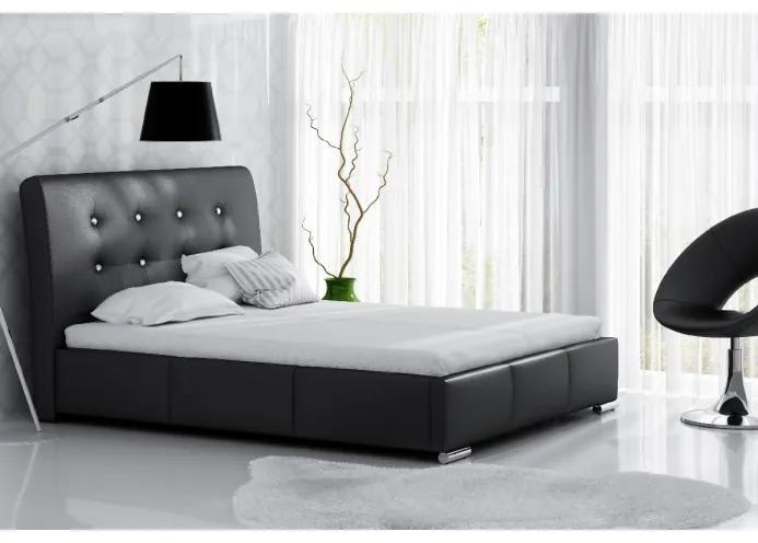 Elegantné jednolôžko Donna s úložným priestorom čierna eko koža 120 x 200