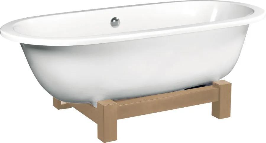 POLYSAN - MATRIX W voľne stojaca vaňa 175x80x46cm, drevená konštrukcia svetlý dub, biela (39123)