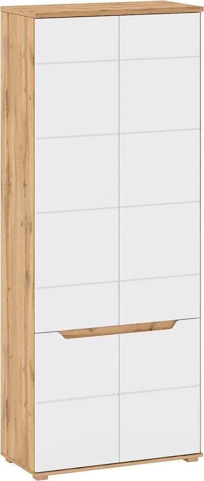 Vešiaková skriňa, pravá, dub wotan/biela extra vysoký lesk HG, VINCO F