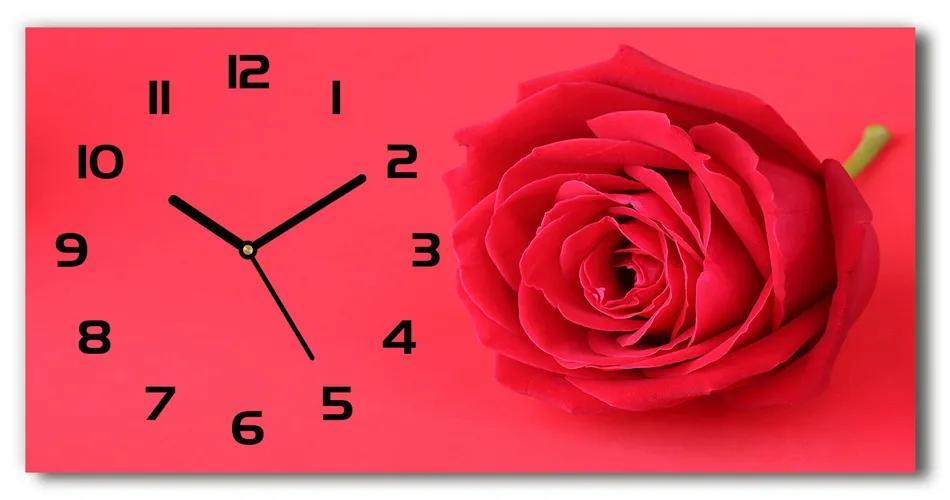 Sklenené hodiny na stenu tiché Červená ruža pl_zsp_60x30_f_77656963
