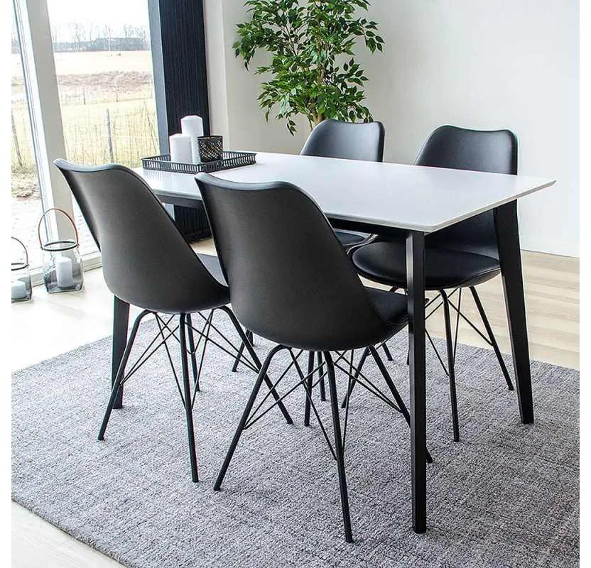 Dizajnový jedálenský stôl Carmen, čierny / biely