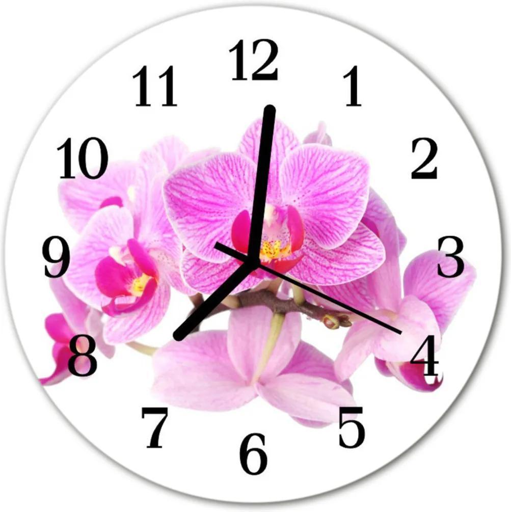 Skleněné hodiny kulaté orchideje