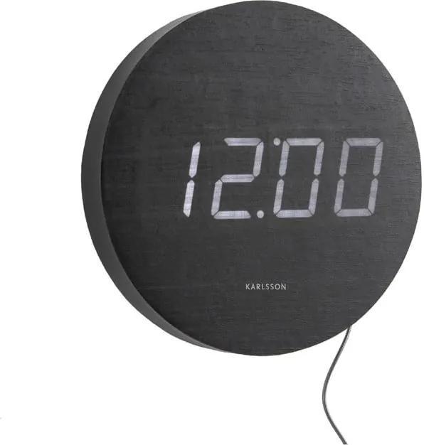 Čierne nástenné LED hodiny Karlsson Round