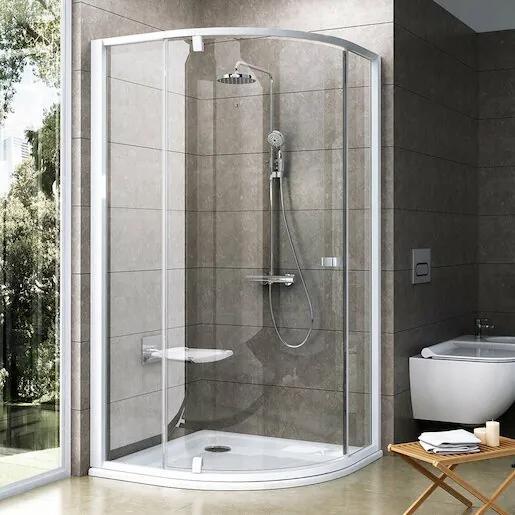 Sprchový kút Ravak Pivot štvrťkruh 90 cm, R 500, sklo číre, biely profil 37677101Z1