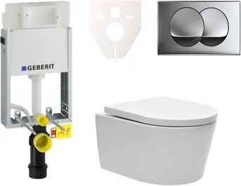 Závesný set WC SAT Brevis, nádržka Geberit Kombifix, tlačidlo CR lesk SIKOGE1W71
