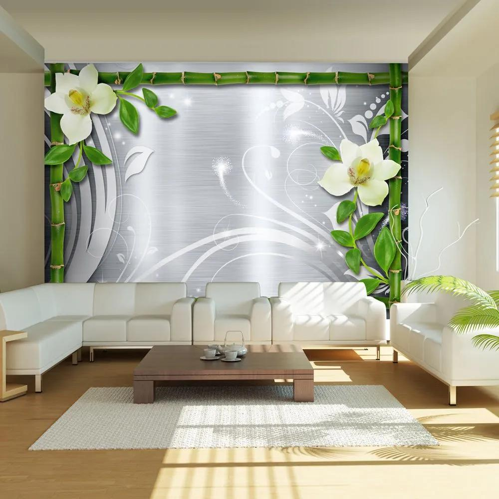 Fototapeta - Bamboo and two orchids 300x210