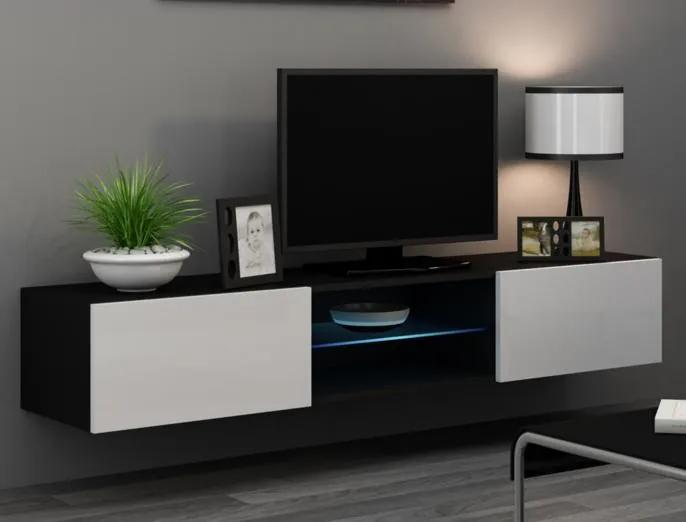 Moderný TV stolík Igore 180 GLASS, černá/bílý lesk
