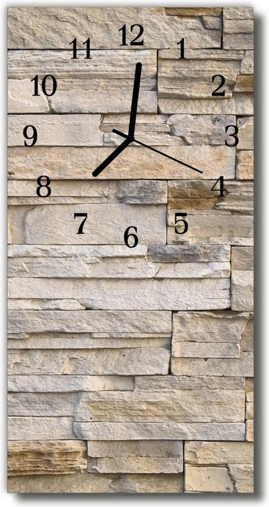 Skleněné hodiny vertikální Kamenná zeď béžová